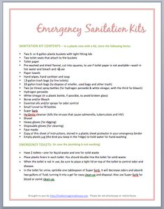 Emergency Sanitation Kits {FREE HANDOUT}