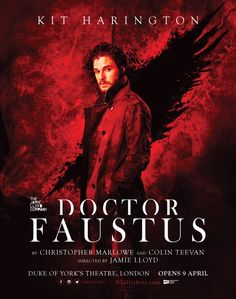 """ It's official. DOCTOR FAUSTUS with #KitHarington opens April 9th at Duke of York's Theatre, London. #FaustusLondon - [x] """