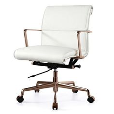 Top performer: the M347 Padded executive chair is ready to tackle the daily grind with a fine-grain comfy Italian leather seat and sleek polished aluminum frame. Smooth-as-silk swivel, lift and rollin