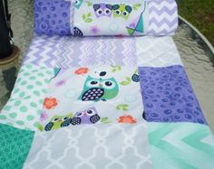 Modern Baby quilt,Owl baby quilt,lavender,purple,mint green,patchwork Crib quilt,woodland,rustic,baby boy bedding,baby girl quilt,newborn