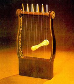 Made of wood with ten strings. Reconstructed according to ancient mosaics. The first mention of musical instruments in the Bible is to be found in the Book of Genesis. These two instruments, the harp ( Ancient Music, Mountain Music, Book Of Genesis, World Music, Ancient Artifacts, Sound Of Music, Made Of Wood, Archaeology, Musical Instruments