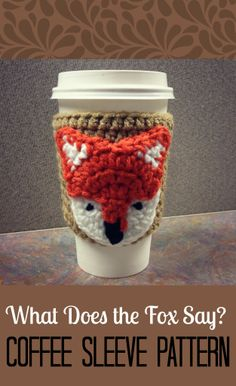 "FREE ""What Does The Fox Say?"" Coffee Sleeve Crochet Pattern via ChaosandLove.com  #crochet #pattern #DIY"