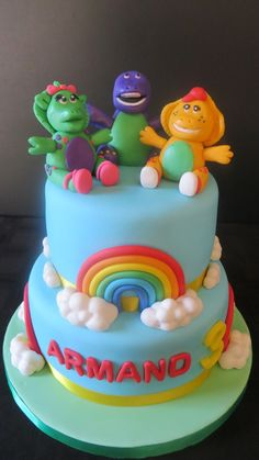 Barney & Friends Cake Barney Birthday Cake, Barney & Friends, Friends Cake, Cakes For Men, Fondant Figures, Boys, Desserts, Crafts, Baby Boys