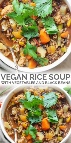 This vegan rice and black bean soup with vegetables is a cosy, comforting dish to warm up with on a chilly evening. Make this for lunch or dinner with simple ingredients and enjoy with a slice of your favourite bread! Oil-free, whole foods plantbased. #vegansoup #healthyrecipes #souprecipes #oilfree #vegetablesoup