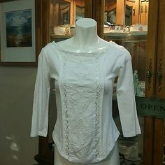 *White crochet blouse nwot Half Sleeves, stretch material Free People Tops Blouses