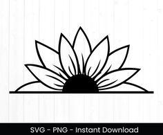 Sunflower Stencil, Sunflower Template, Sunflower Drawing, Sunflower Png, Sunflower Design, Sunflower Pattern, Flower Outline, Flower Svg, Beginner Tattoos