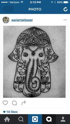 My new tattoo of Ganesha in a hamsa.