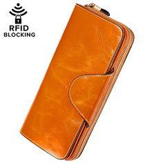 8436856c4 Monederos Mujer Cera de Lujo Carteras Mujer Piel Genuino Gran Capacidad  RFID Bloqueo Hecho a Mano