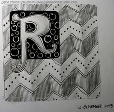 "Letter R ~ ""Raddox"" #Zentangle by #CZT Jane Monk, #CertifiedZentangleTeacher in Australia"