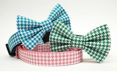 Dog Bow Tie and Collar Set  Happy Houndstooth  by PacificPooch