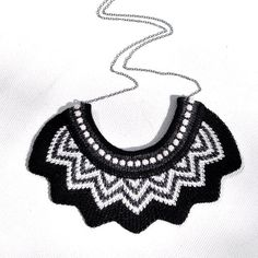 Knitted Chevron Necklace Black Slate Grey by amylawrencedesigns