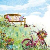 Салфетка для декупажа Летняя скамейка и велосипед