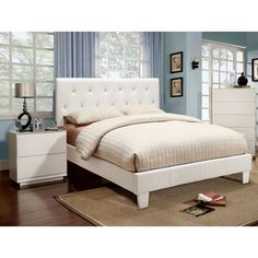 I want this bed!!!! Sweet and sophisticated, the classic charm of this bed set showcases the best of modern design. The button-tufted headboard is completely accentuated with crystal-like sparkles, allowing the leatherette upholstery to pop beautifully.