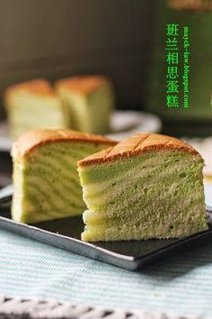 厨苑食谱: 斑纹~ 斑兰相思蛋糕 (Pandan Ogura Cake)