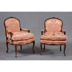 Pair of Louis XV Style Mahogany Fauteuils