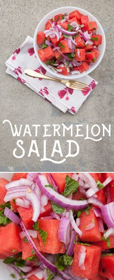 Beat the summer heat or dazzle at a summer lunch party with this watermelon salad. Simple, refreshing and absolutely delicious, this recipe only takes a few seconds to make, but it's impression will last a lifetime. Use freshly chopped watermelon, red onion, mint leaves and combine.