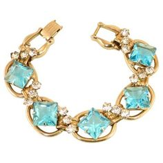 Check out this item at One Kings Lane! Juliana Aqua Square Crystal Bracelet