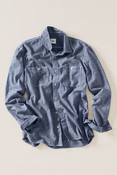 lands' end canvas - guildsman chambray workshirt