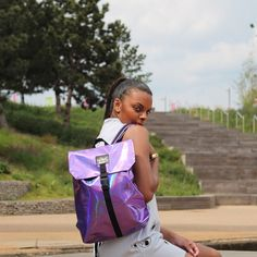 Another High Spirit Global Citizen for you. Meet the Wonderful @tiana.ce rocking the new Purple Future @highspiritbag now available on our website. Check her out on the blog at www.highspiritbags.com #highspirit #highspiritbag #bag #backpack #style #stylish #dope #shoreditch #purple  #antitheft #theftproof #graffiti #style #stylish #hypebeast #fun #london #unicorn #fashionista #lifestyle #fashionblogger #travel #tourism #unique #beauty #girl #accessories #cutebag #city