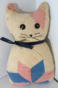 vintage Quilt Cat Pillow