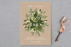 """""""Laurel of Greens"""" - Floral & Botanical, Rustic Wedding Invitations in Midnight by Jennifer Wick."""