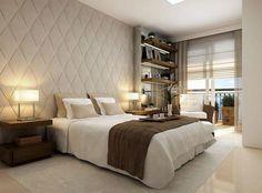 gosto das cores neutras deste quarto.. e gosto muito da parede estufada