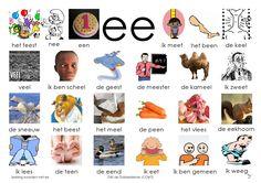 Woorden klank /ee/. Afbeelding Letter School, Learn Dutch, Dutch Language, Primary Teaching, Kids Writing, Phonics, Spelling, Preschool, Mini