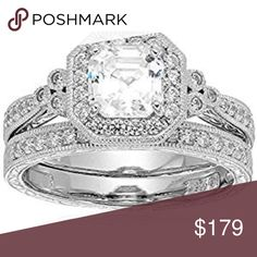 Platimun Plated Sterling Silver Ring Platinum Plated Sterling Silver Asscher-Cut Swarovski Zirconia Antique Ring Set (4.5 cttw)  Comes in size 5-10, please let me know what size you want  ap3900 Jewelry Rings
