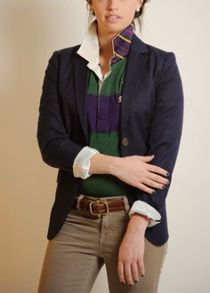 """""""Preppy academic"""" outfit: Blazer over Polo Ralph Lauren Rugby with cords"""