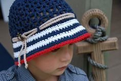 nautical boys hat, crochet summer hat, boys photo prop hat, navy red and white hat, anchor hat, 5-preteen boys hat, ready to ship