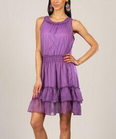 Look at this #zulilyfind! Lilac Shirred Ruffle Sleeveless Dress #zulilyfinds