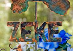 PLACE A CUSTOM ORDER / Garden Stake / Name Sign / Dog Or Cat / Pet Memorial / Copper Metal Garden Art / Pet Memorial / Made to Order