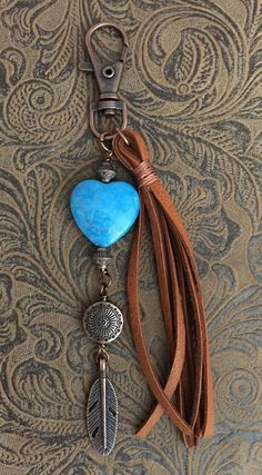 Western Leather Purse Tassel, Southwestern Heart Purse Charm, Heart Keychain, Blue Jasper Heart Back - DIY Jewelry Pearl Ideen Leather Earrings, Leather Jewelry, Leather Craft, Leather Purses, Beaded Jewelry, Handmade Jewelry, Leather Totes, Leather Bracelets, Leather Bags