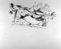 "Jackson Pollock,Untitled - 1943 - Ink on paper - H10""XW12-3/4"" - Metropolitan Museum of Art - Copyright PKF/ARS"