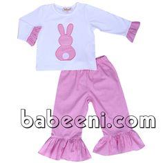 Pink bunny applique girl set for Easter