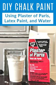 Here's the easy 3 ingredient DIY Chalk Paint Recipe I use to mix Latex Paint, water, and Plaster of Paris into beautiful furniture and decor paint. How to make homemade chalk paint, which sheen of latex paint works, what to do if chalk paint is too thick or thin, and why I love chalk paint on furniture. Diy Chalk Paint Recipe, Homemade Chalk Paint, Chalk Paint Furniture, Diy Furniture Redo, Plaster Of Paris, How To Make Homemade, Makeover Before And After, Plaster Walls, Diy Painting
