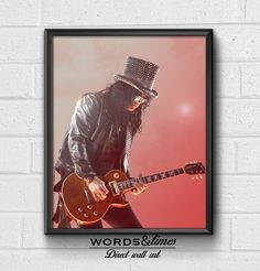 Guns N' Roses, Slash, Slash Poster, Framed Poster, Guns N Roses Poster, Framed art, Guns ad Roses Art,Wall Prints, wall Art, Home Decor by wordsandtime on Etsy