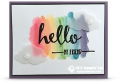 VIDEO: How to create a Rainbow Watercolor Wash Technique   Stampin Up Demonstrator - Tami White. ——— S U P P L I E S ——— • Hello Clear-Mount Stamp Set #141243 • Versamark Pad #102283 • Real Red Classic Stampin' Pad #126949 • Tangerine Tango Classic Stampin' Pad #126946 • Daffodil Delight Classic Stampin' Pad #126944 • Cucumber Crush Classic Stampin' Pad #138324 • Tempting Turquoise Classic Stampin' Pad #126952 • Island Indigo Classic Stampin' Pad #126986 • Elegant Eggplant Classic