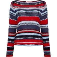 Oui Chunky multi-stripe jumper ($135) ❤ liked on Polyvore featuring tops, sweaters, dark red, women, blue striped sweater, stripe top, striped top, striped sweater and jumpers sweaters
