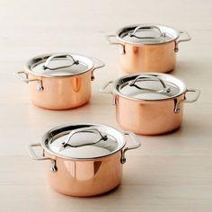 Williams-Sonoma Mini Copper Cocottes, Set of 4