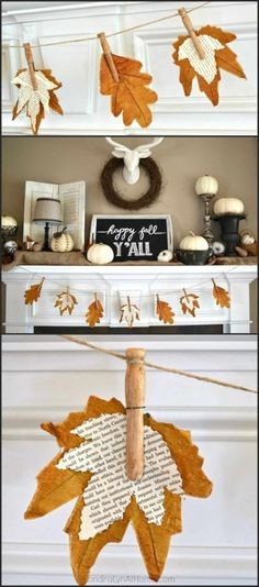DIY Fall Mantel Decor Ideas to Inspire! DIY Fall Mantel Decor Ideas to Inspire!,Trying To Be Crafty Do it Yourself Book Page Leaves Banner for Fall Mantel Inspiration DIY Home Decor Ideas for Autumn. Fall Banner, Diy Banner, Fall Garland, Fall Bunting, Diy Garland, Garland Ideas, Banner Ideas, Wreath Fall, Fall Mantel Decorations