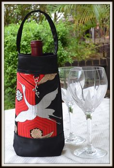 Silk Wine Bag   Recycled Japanese Obi with Silver by SasakiBags