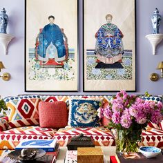 The most beautiful living room styling with a ton of color, patterns, and antique Chinoiserie.
