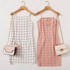 Grid Bodycon Cami Dress - Source by Official_Romwe - Girls Fashion Clothes, Teen Fashion Outfits, Cute Fashion, Girl Outfits, Womens Fashion, Cute Casual Outfits, Cute Summer Outfits, Pretty Outfits, Stylish Outfits
