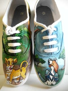 Lion King Custom Painted Canvas Shoes Hakuna Matata Simba and Zasu