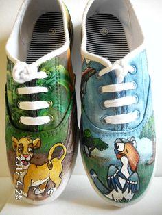 Lion King Custom Painted Canvas Shoes Hakuna Matata Simba and Zasu