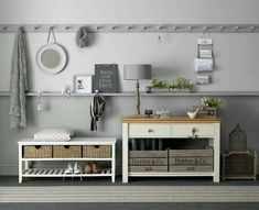 3-3-hallway-entry-room-entrance-hall-mudroom-interior-design-shoe-storage-ideas-cabinet-baskets-boxes-wellingtons-rubber-console-table-lamp-many-hooks-gray-walls
