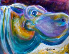 Hippopotamus Painting Original Art 13 x 10 by ErikaJohnsonGallery, $65.00
