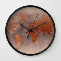 Qlocktwo home creators edition rust wall clock 2885 liked on world map 7 brown wall clock 1760 rub liked on polyvore featuring home gumiabroncs Image collections