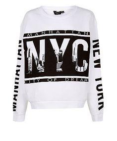 White (White) Teens White NYC City Scene Graphic Sweater | 308901110 | New Look